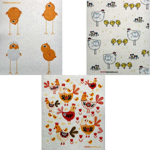 Mixed Chickens Set of 3 cloths Swedish Dishcloths (one of each design) | ECO Friendly Absorbent Cleaning Cloth | Reusable Cleaning Wipes