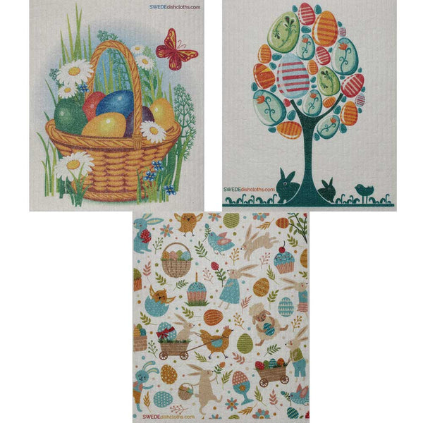 Mixed Easter Set of 3 cloths Swedish Dishcloths (one of each design) | ECO Friendly Absorbent Cleaning Cloth | Reusable Cleaning Wipes