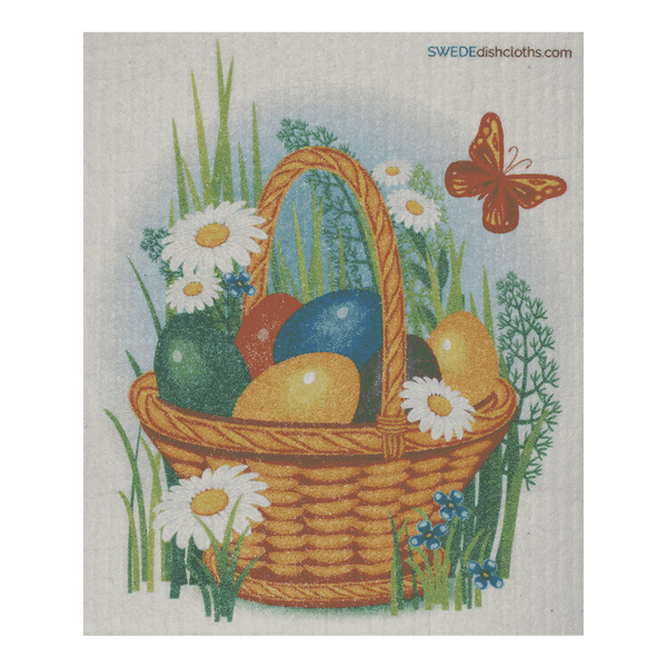Easter Basket One Swedish Dishcloth