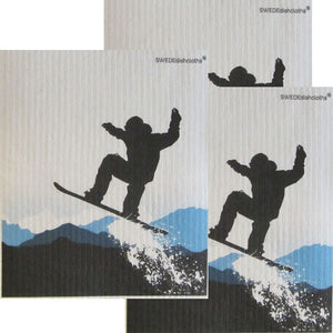 Snowboard Jumping Set of 3 each on white Swedish Dishcloths ECO Friendly Absorbent Cleaning Cloth