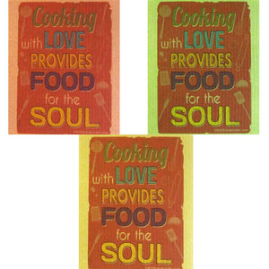 Food for the Soul Set of 3 cloths (One of each color) Swedish Dishcloths ECO Absorbent Cleaning