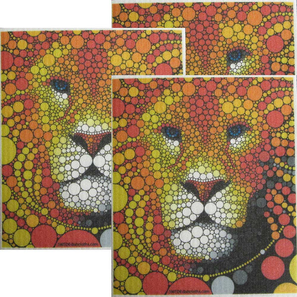 Colorful Lion Set of 3 cloths Swedish Dishcloths | ECO Friendly Absorbent Cleaning Cloth | Reusable Cleaning Wipes