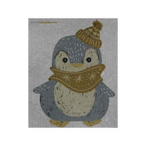 Winter Penguin on Gray ONE each Swedish Dishcloth | ECO Friendly Absorbent Cleaning Cloth | Reusable Cleaning Wipes