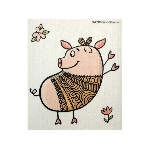 Dancing Pig One cloth Swedish Dishcloths | ECO Friendly Absorbent Cleaning Cloth