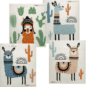 Mixed Llamas Set of 4 Swedish Dishcloths (One of each design)