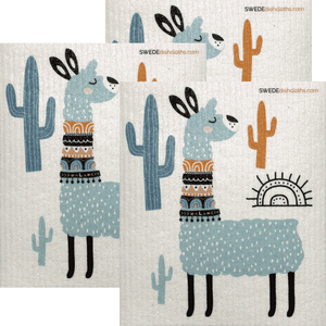 Turquoise Llama Set of 3 Swedish Dishcloths