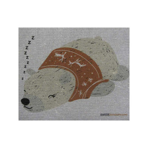 Sleeping Winter Bear on Gray ONE each Swedish Dishcloth | ECO Friendly Absorbent Cleaning Cloth | Reusable Cleaning Wipes