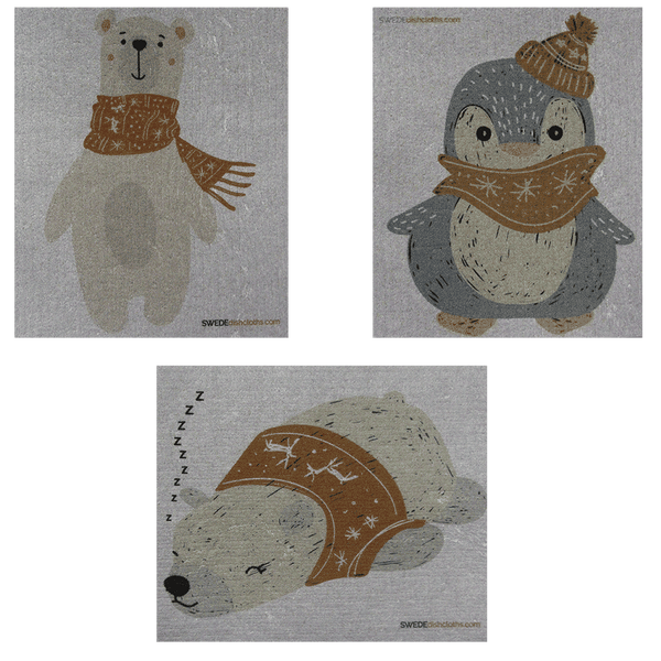 Mixed Winter Animals on Gray Set of 3 cloths (One of each design) Swedish Dishcloths ECO  Absorbent Cleaning Cloth