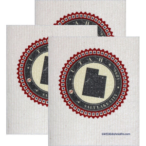 Swedish Dishcloth Set of 3 each Swedish Dishcloth Badge Design - Utah