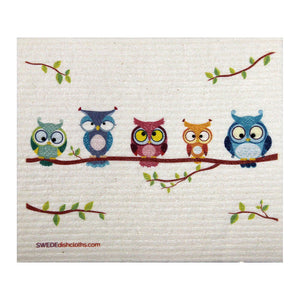 Mixed Owls Set of 3 cloths (One of each design) Swedish Dishcloths ECO  Absorbent Cleaning Cloth