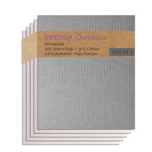 Swedish Dishcloths 5 Pack (1 Gray, 4 Natural) Combo GNNNN Paper Towel Replacements | Swededishcloths