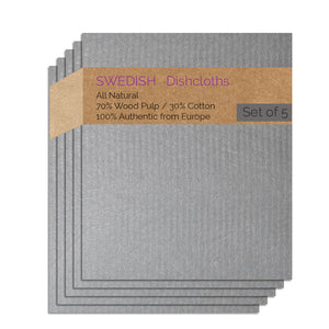 Swedish Dishcloth 5 Pack (Gray Color) Paper Towel Replacements | Swededishcloths
