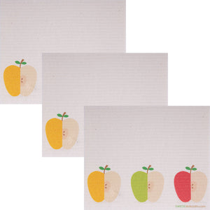 Swedish Dishcloth (3 Apples) Set of 3 Paper Towel Replacements | Swededishcloths