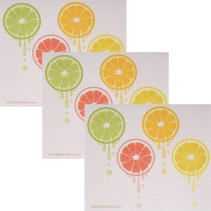 Swedish Dishcloth (Dripping Fruit) Set of 3 Paper Towel Replacements | Swededishcloths