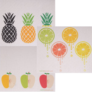 Swedish Dishcloth (Mixed Fruit) Set of 3 (One of each design) Paper Towel Replacements | Swededishcloths