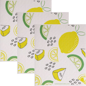 Swedish Dishcloth (Lemon Lime) Set of 3 Paper Towel Replacements | Swededishcloths