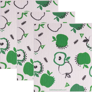 Swedish Dishcloth (Green Apples) Set of 3 Paper Towel Replacements | Swededishcloths