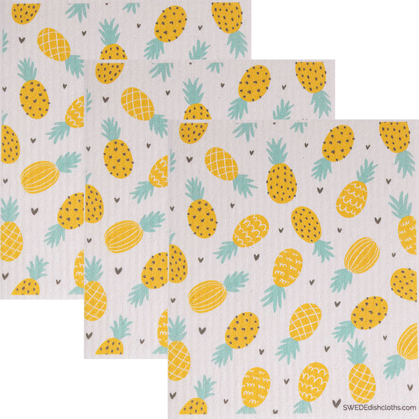 Swedish Dishcloth (Pineapple Collage) Set of 3 Paper Towel Replacements | Swededishcloths