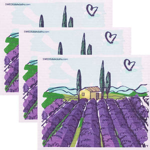Tuscany Vinyard Set of 3 Swedish Dishcloths ECO Friendly Absorbent Cleaning Cloths