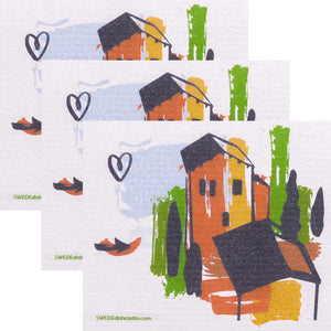 Tuscany Villa Set of 3 Swedish Dishcloths ECO  Absorbent Cleaning Cloths