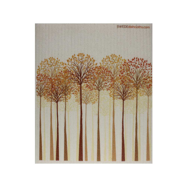 "Swedish Dishcloths ""Tall Autumn Trees"" One Dishcloth 