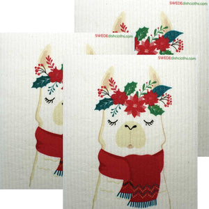 Winter Llama Set of 3 cloths  Swedish Dishcloths Eco Friendly Absorbent Cleaning Cloth