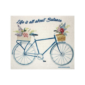 "Swedish Dishcloths ""Life Balance Bike"" One Dishcloth 