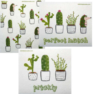 Mixed Cactus Set of 3 cloths (One of each design) Swedish Dishcloths ECO  Absorbent Cleaning Cloth