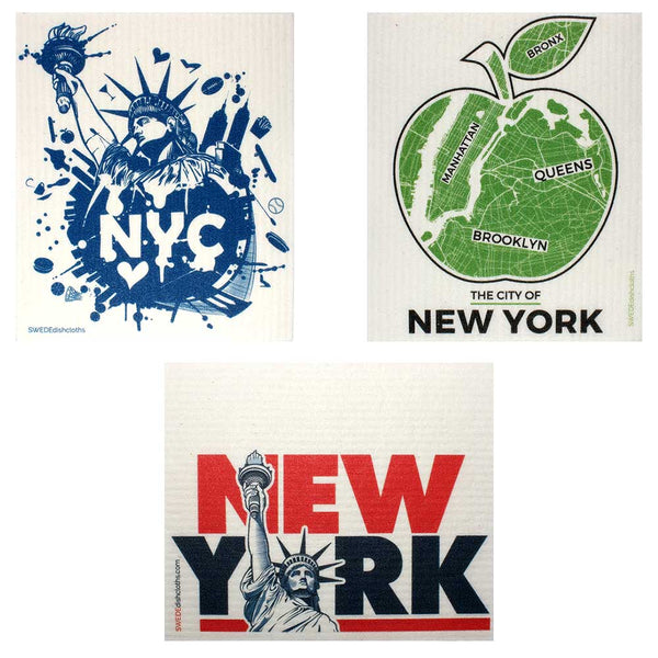 Swedish Dishcloths Mixed NYC Set of 3 cloths (one of each design)  Eco Friendly Absorbent Cleaning Cloth
