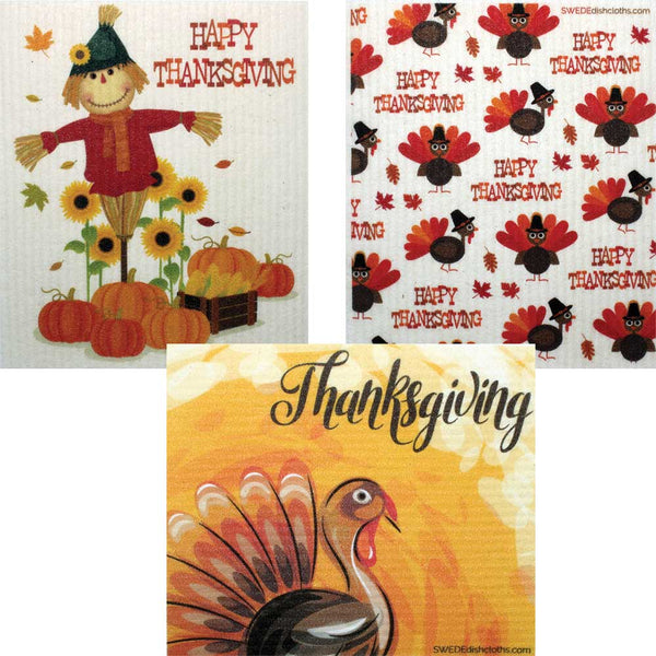 "Mixed Thanksgiving ""B"" Set of 3 cloths (One of each design) Swedish Dishcloths ECO  Absorbent Cleaning Cloth"