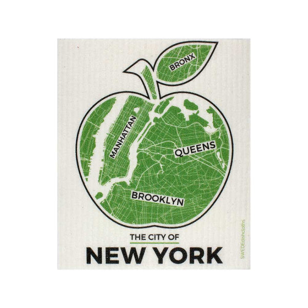 NYC Green Apple One cloth Swedish Dishcloths | ECO Friendly Absorbent Cleaning Cloth