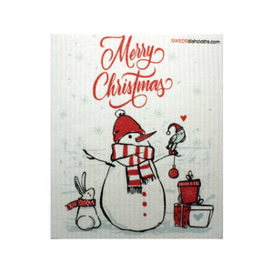 Christmas Snowman w/Bird One cloth Swedish Dishcloths | Eco Friendly Reusable Absorbent Cleaning Cloth