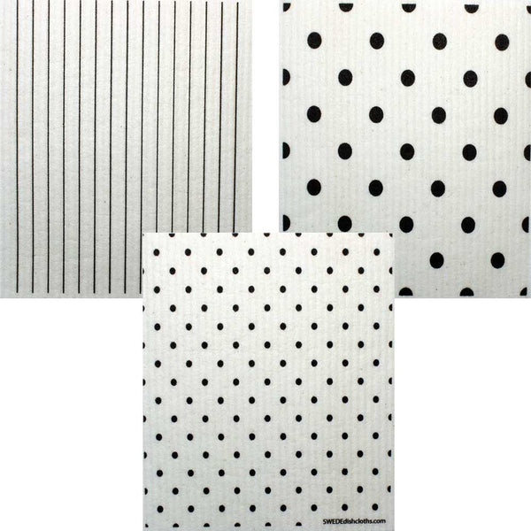 Mixed B&W Patterns Set of 3 cloths (One of each design) Swedish Dishcloths ECO  Absorbent Cleaning Cloth