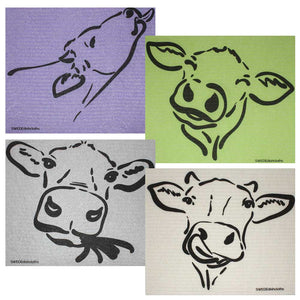 Swedish Dishcloths Cow Silhouettes Set of 4 cloths (one of each design)  Eco Friendly Absorbent Cleaning Cloth