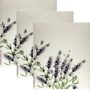 Swedish Dishcloths Lavender Flowers Set of 3 cloths (one of each design)  Eco Friendly Absorbent Cleaning Cloth