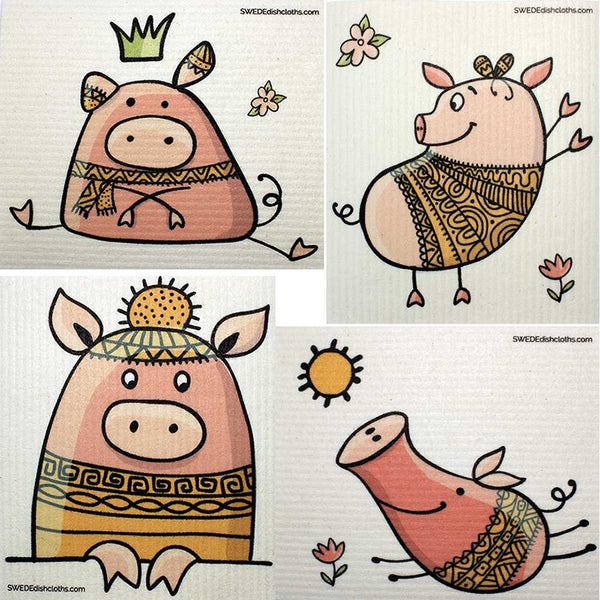Mixed Cute Pigs Set of 4 cloths (One of each design) Swedish Dishcloths ECO  Absorbent Cleaning Cloth
