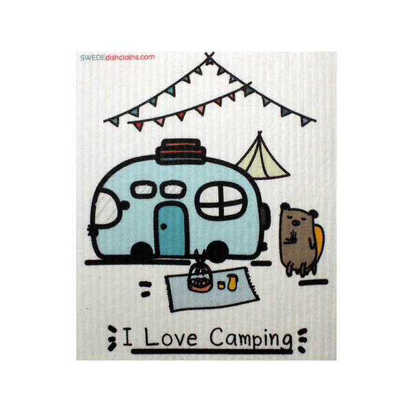 I Love Camping One cloth Swedish Dishcloths | ECO Friendly Absorbent Cleaning Cloth