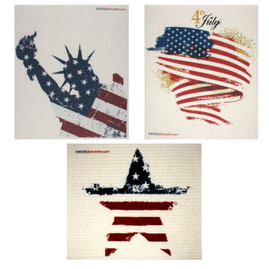 Swedish Dishcloths Patriotic Set of 3 cloths (one of each design)  Eco Friendly Absorbent Cleaning Cloth
