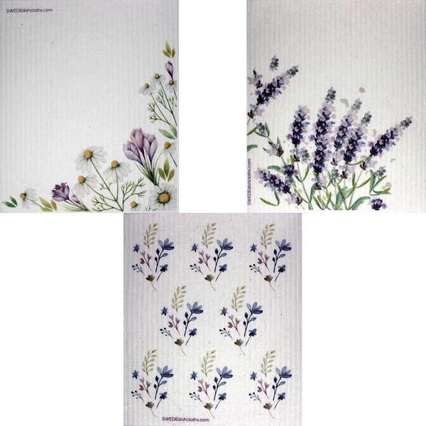 Swedish Dishcloths Mixed Purple Wildflowers Set of 3 cloths (one of each design)  Eco Friendly Absorbent Cleaning Cloth