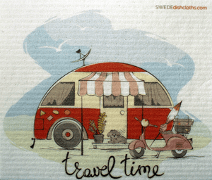 Travel Time One cloth Swedish Dishcloths | ECO Friendly Absorbent Cleaning Cloth