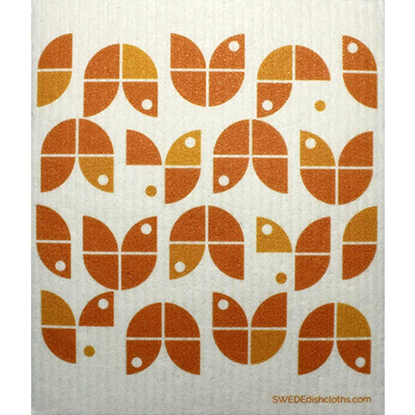 Geometric Flowers Orange on White One cloth Swedish Dishcloths | ECO Friendly Absorbent Cleaning Cloth