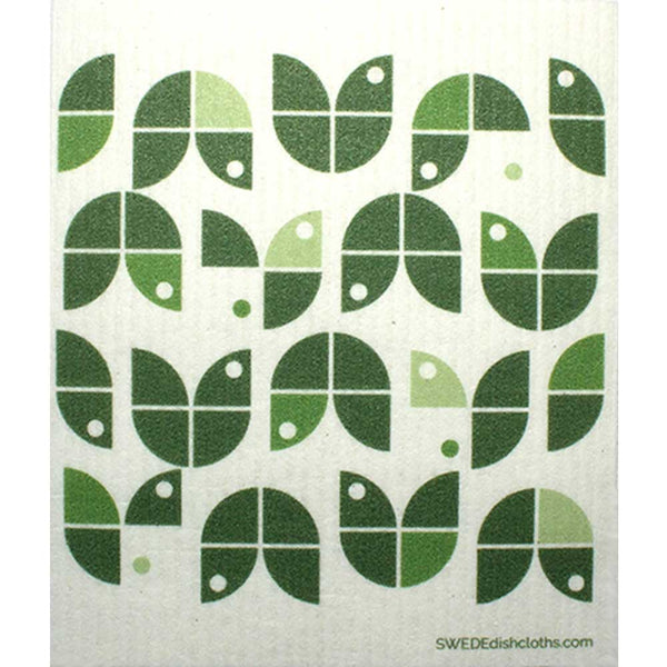 Geometric Flowers Green on White One cloth Swedish Dishcloths | ECO Friendly Absorbent Cleaning Cloth