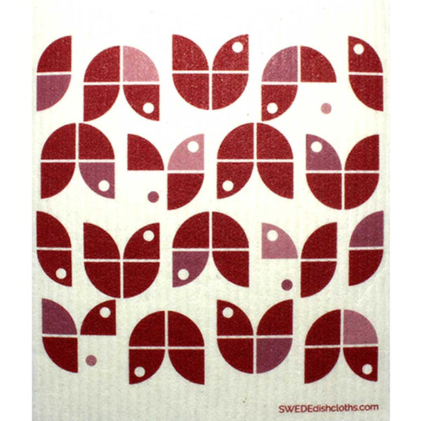 Geometric Flowers Red on White One cloth Swedish Dishcloths | ECO Friendly Absorbent Cleaning Cloth