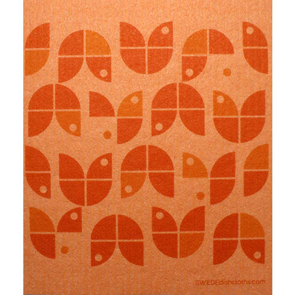 Geometric Flowers Orange on Orange One cloth Swedish Dishcloths | ECO Friendly Absorbent Cleaning Cloth
