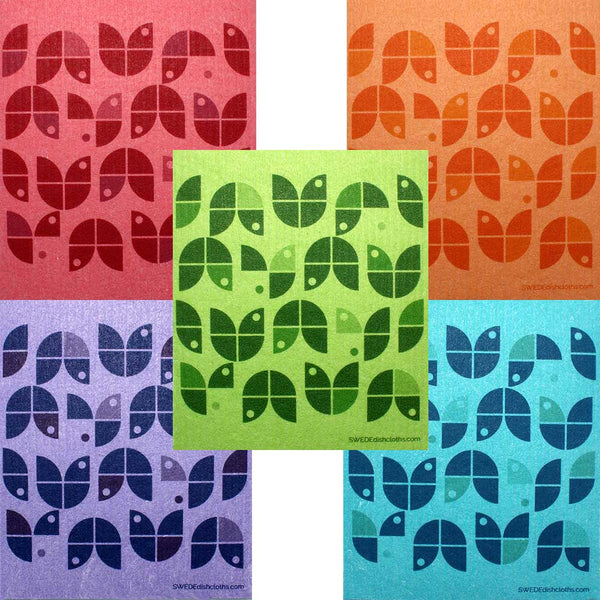 Geometric Flowers on Colors Set of 5 cloths (One of each design) Swedish Dishcloths ECO  Absorbent Cleaning Cloth