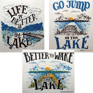 Swedish Dishcloths Lake Life Set of 3 cloths (one of each design)  Eco Friendly Absorbent Cleaning Cloth