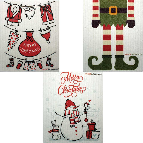 "Mixed Christmas ""B"" Set of 3 cloths Swedish Dishcloths Eco Friendly Absorbent Cleaning Cloth"