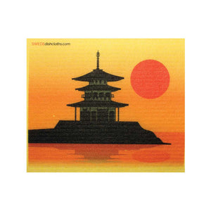 Pagoda Silhouette One cloth Swedish Dishcloths | ECO Friendly Absorbent Cleaning Cloth
