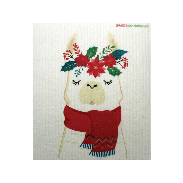Winter Llama One Swedish Dishcloth | ECO Friendly Reusable Absorbent Cleaning Cloth