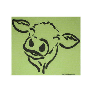 "Swedish Dishcloths ""Cow Silhouette on Green"" One Dishcloth 